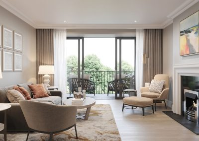 Mulberry Court apartments, open plan living with views of the stunning gardens